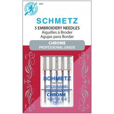 #4045 Schmetz Machine Needle Chrome Embroidery 5 Pk Sz 75/11