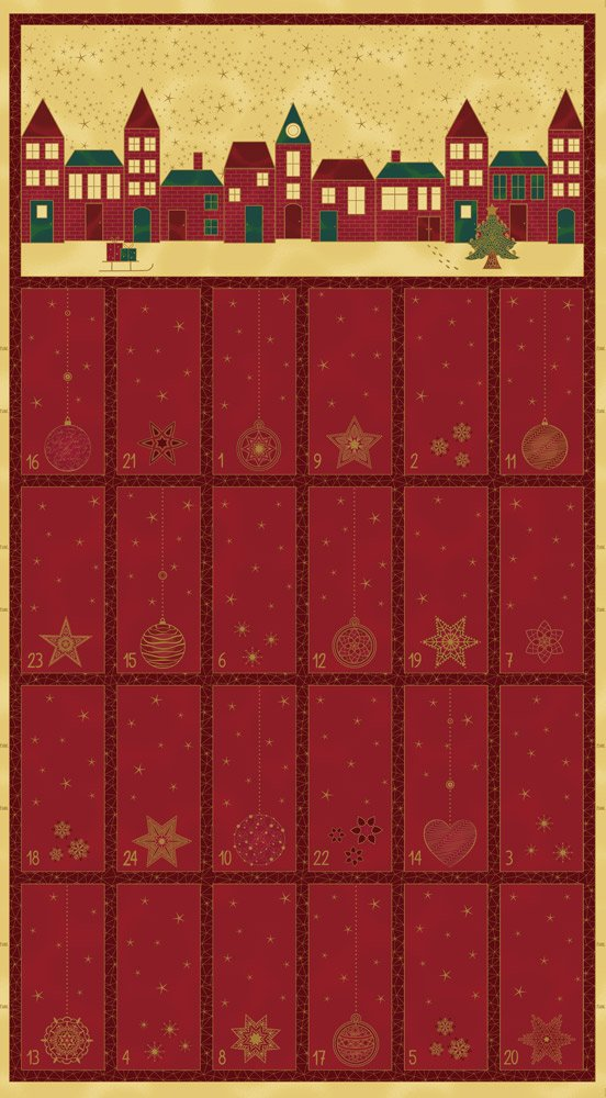 4595-477 STOF Amazing Stars Random Calendar Burgundy Panel
