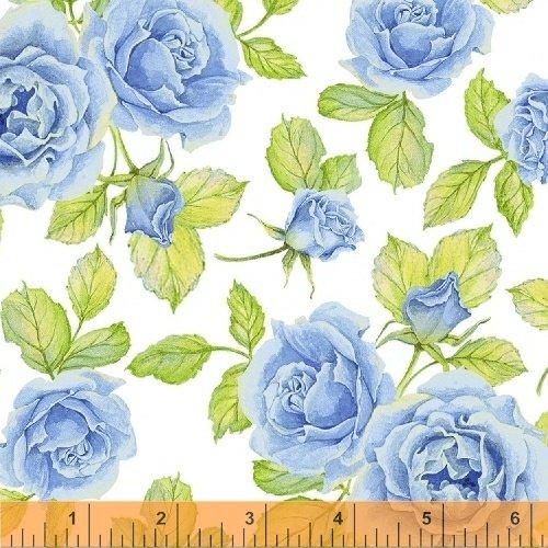 50577-2 Windham Cottage Joy Roses  Blue