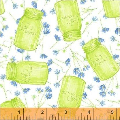 50578-1 Windham Cottage Joy Flower Jars  Green