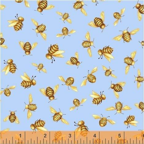50580-2 Windham Cottage Joy Honey Bees  Blue