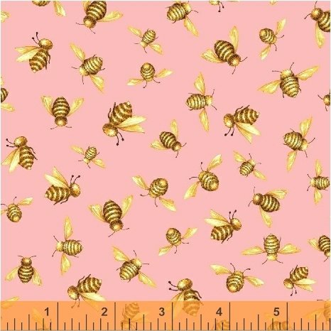 50580-3 Windham Cottage Joy Honey Bees  Pink