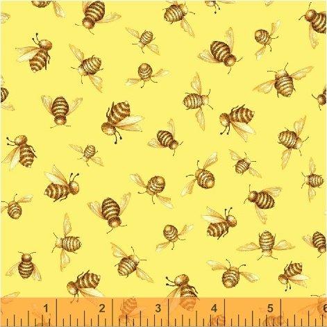 50580-4 Windham Cottage Joy Honey Bees  Yellow
