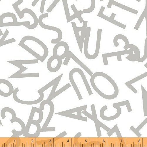 51055-3 Bounce Tossed Alphabet Gray on White