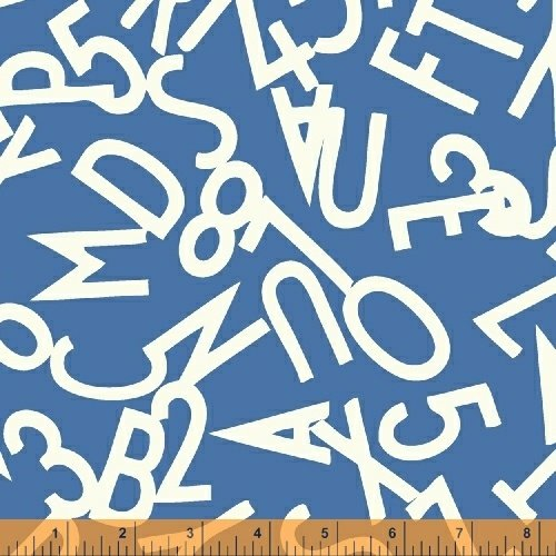 51055-4 Bounce Tossed Alphabet White on Blue