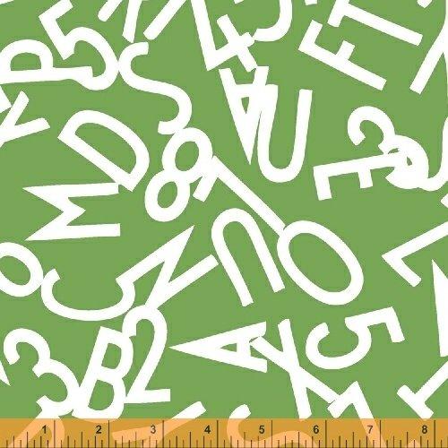 51055-6 Bounce Tossed Alphabet White on Green