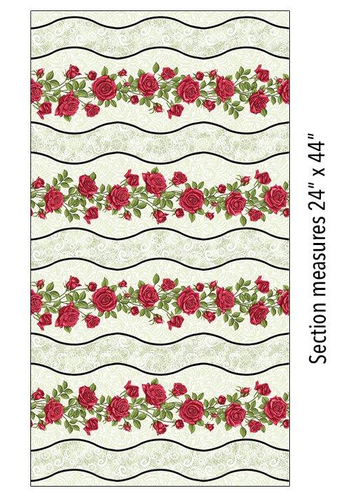 06636P42B Festive Roses Stripe Green
