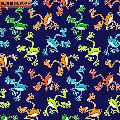 Benartex Toadally Cool Hoppy Frogs Navy 9833GL 55
