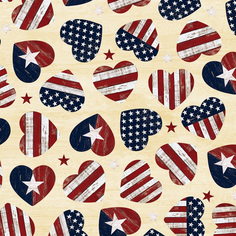 C7046 Cream USA American Flag Hearts