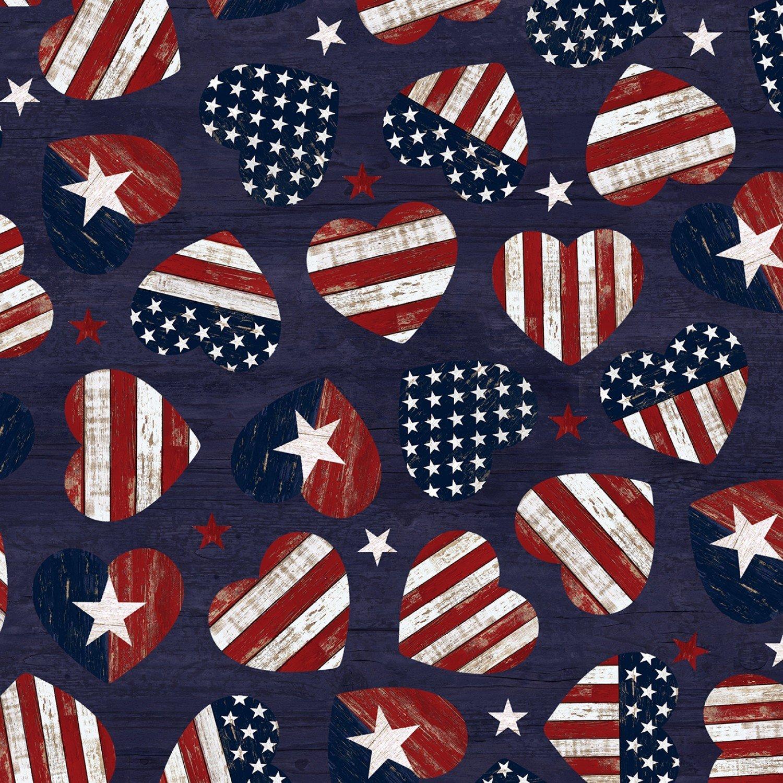 C7046 Navy USA American Flag Hearts