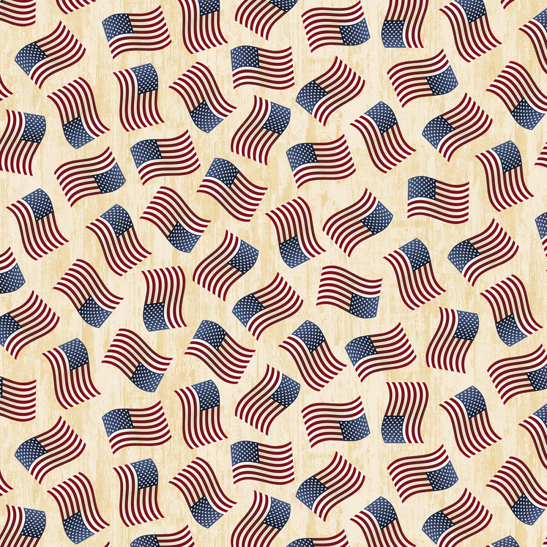 C7048  USA Cream Tossed American Flags