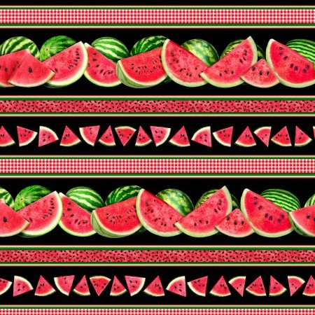 Fruit, Watermelons and Gingham, Black, C7962
