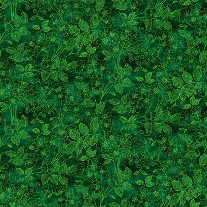 1425-66 Luna Garden Tonal Floral Green