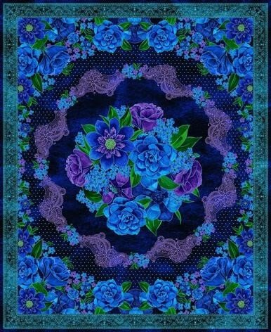 1426P-77 Luna Garden Navy Floral Panel