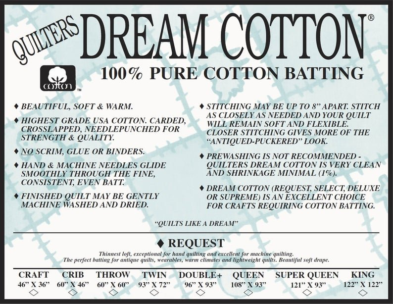 N3TN Quilters Dream Natural Cotton Request Batting Twin 93 X 72
