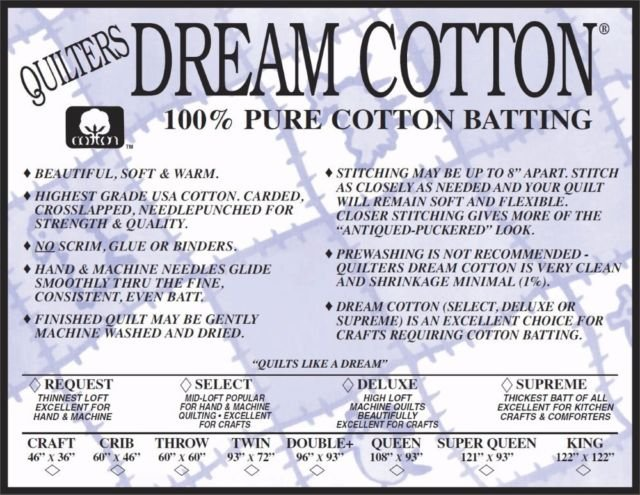N6K Quilters Dream Natural Cotton Deluxe Batting - King 122 X 122