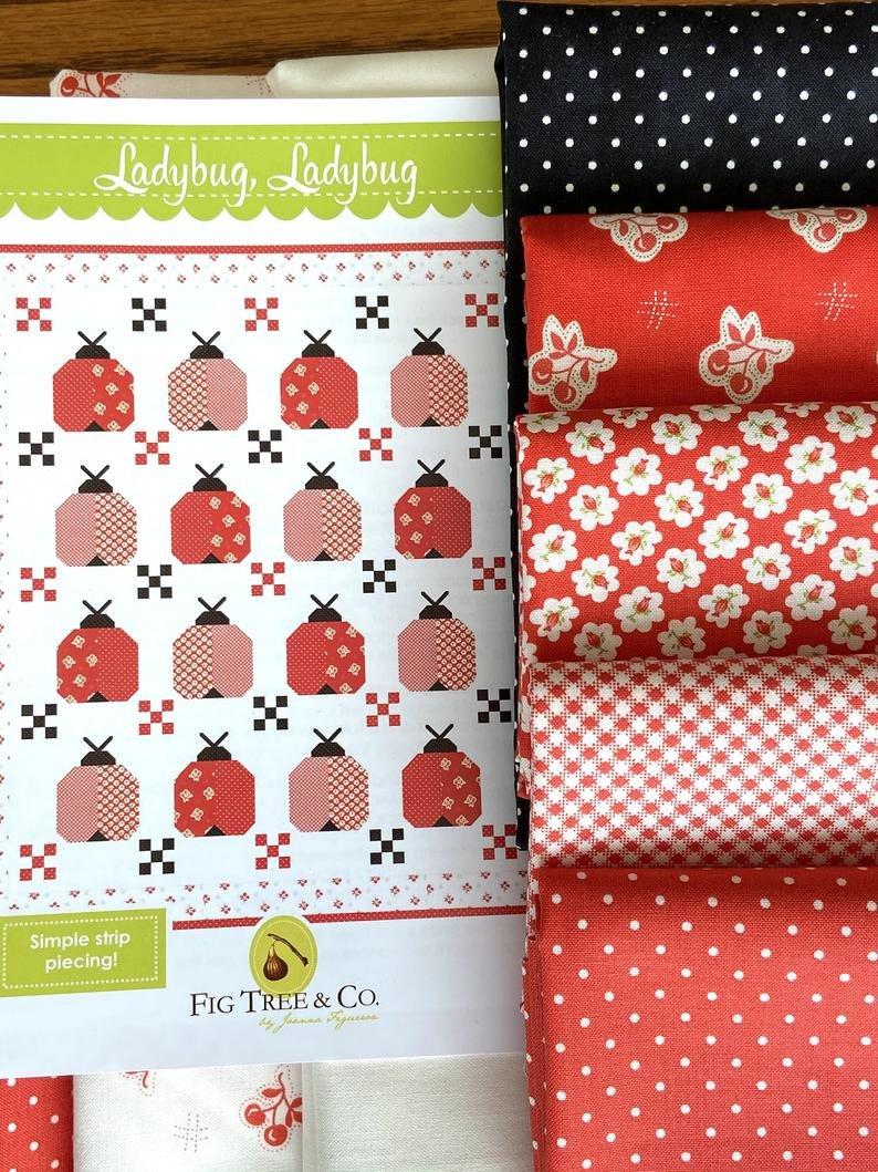 Ladybug, Ladybug Quilt Kit by Fig Tree w/pattern & binding