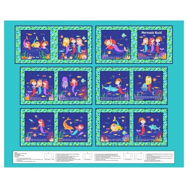 Turquoise Mermaids Rock 36 Book Panel 4839P-76