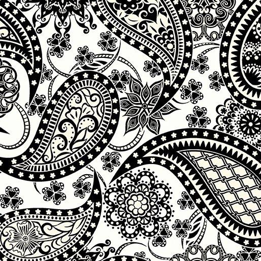 Jubilee Paisley WIDE White/Black 5490-W-09B