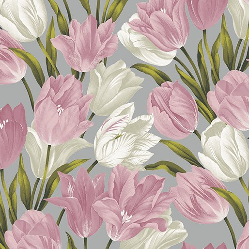 Pink Totally Tulips 6731-21 Pink/Grey