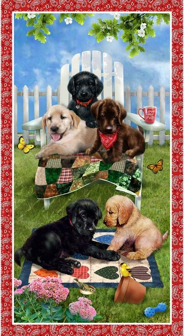 Pups in the Garden Banner 24 Panel Red 9341P-88