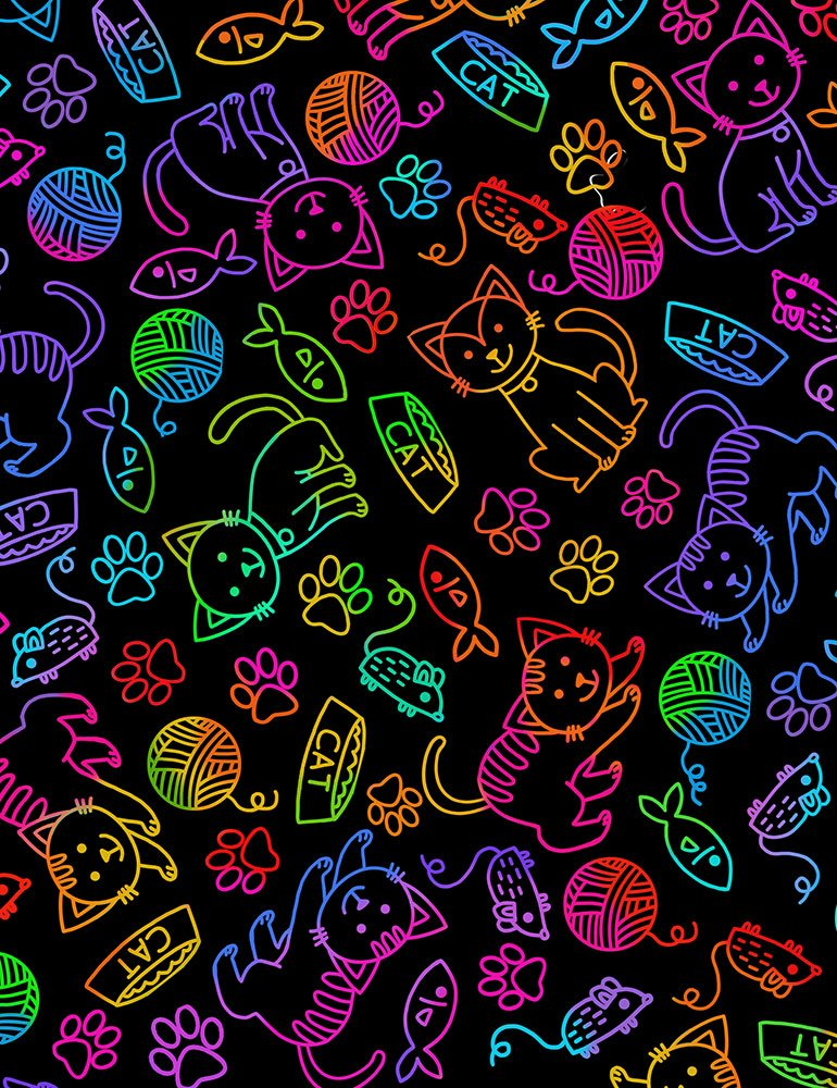 Cat-C7037 Bright Cat and Mouse Rainbow Outline