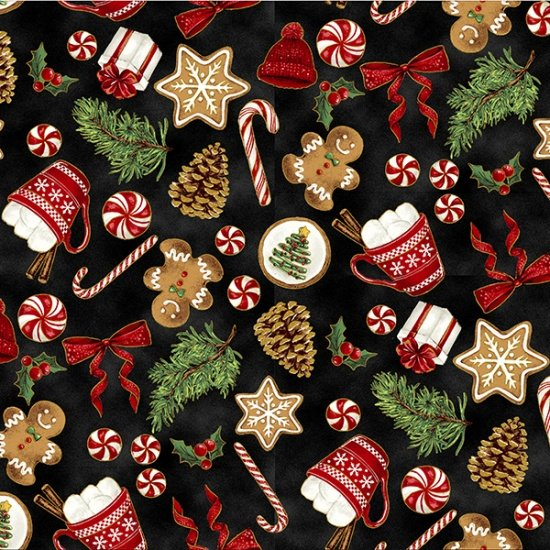 Santa's Sweets Black/Gold S7719-4G