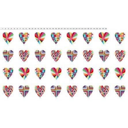Happy!  Patchwork Hearts White Y2876-1 by Katie Webb Design