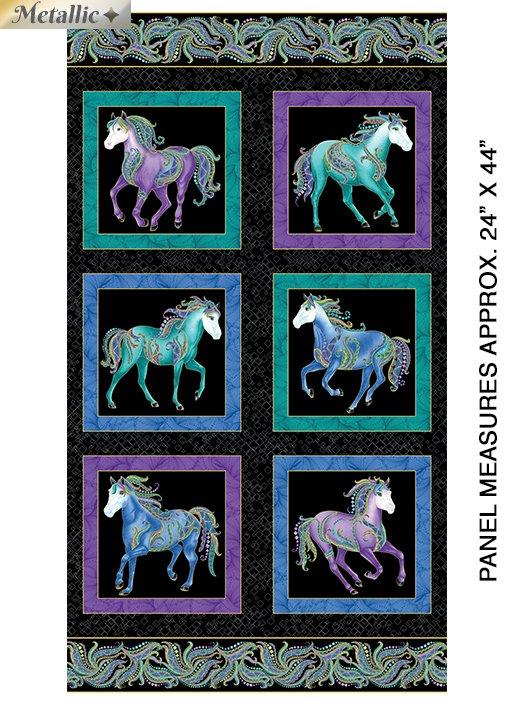 Horsen Around Panel-Black/Multi