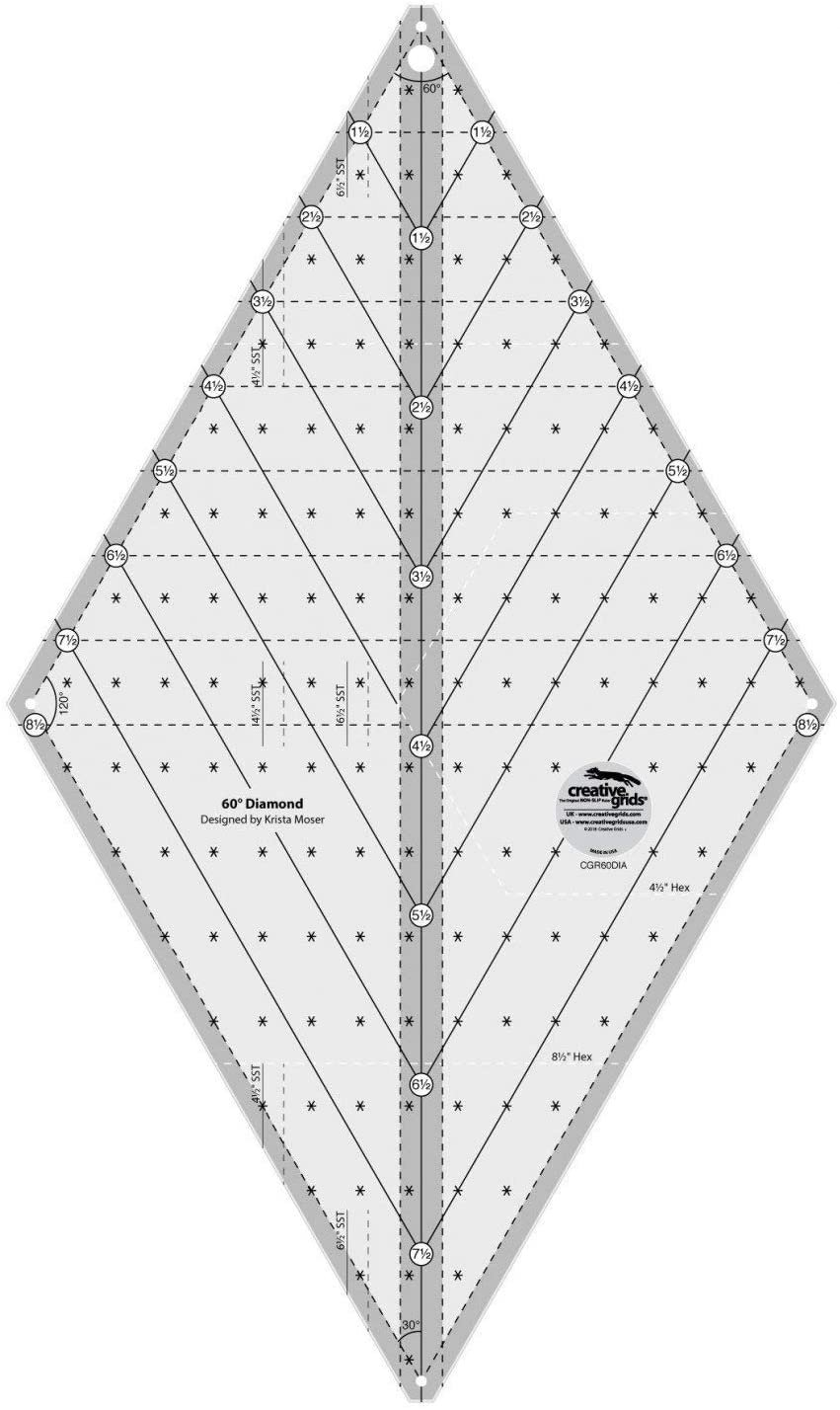 Creative Grids 60 Degree Diamond Ruler 16 1/2