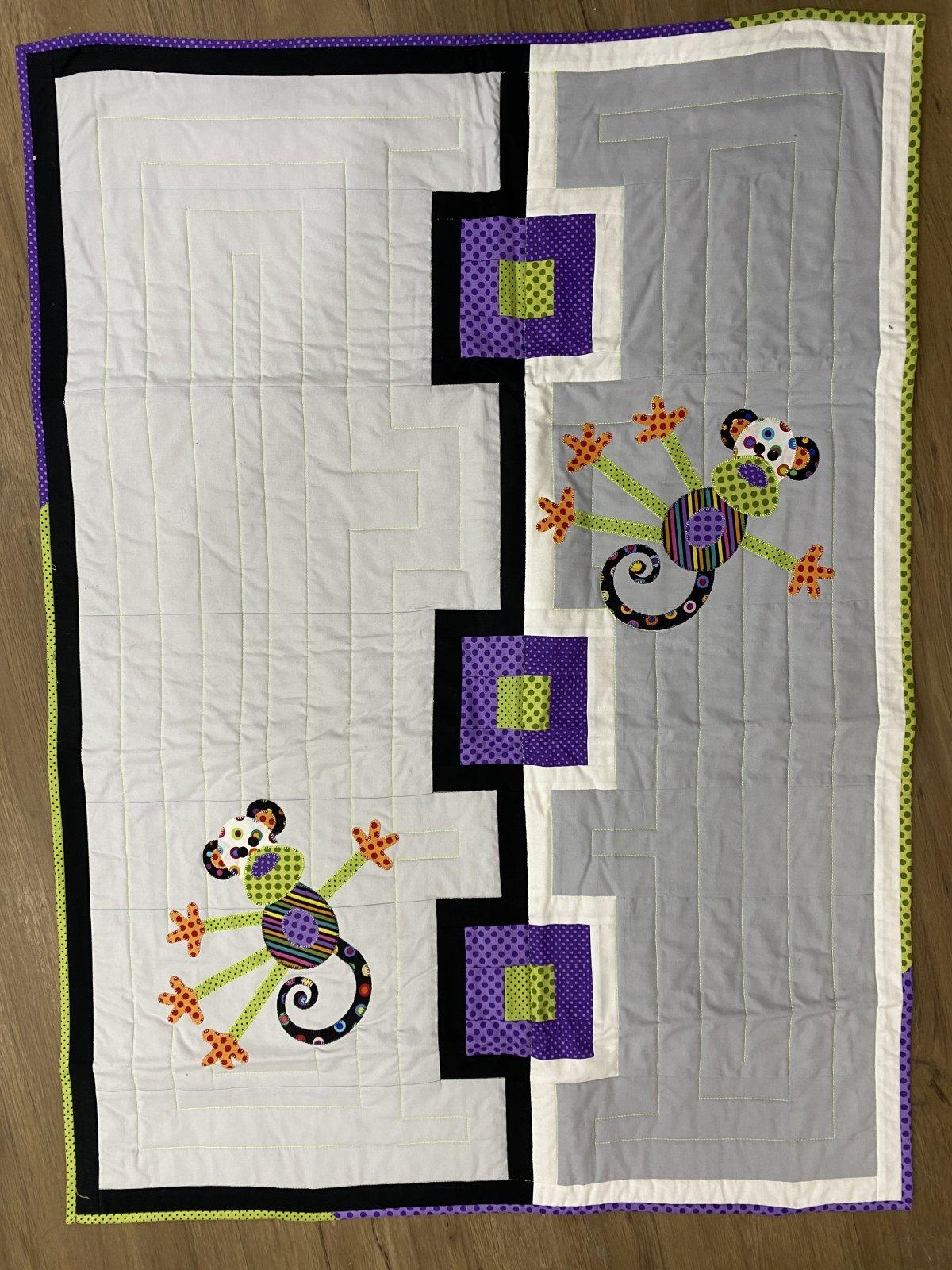 Monkey White Baby Quilt