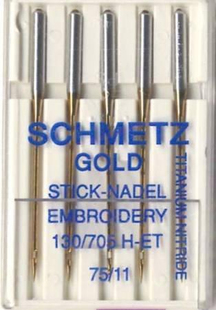Schmetz Gold Titanium Embroidery Machine Needle Size 11/75