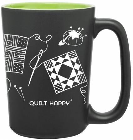 Quilt Happy Mug Scribbles Grn
