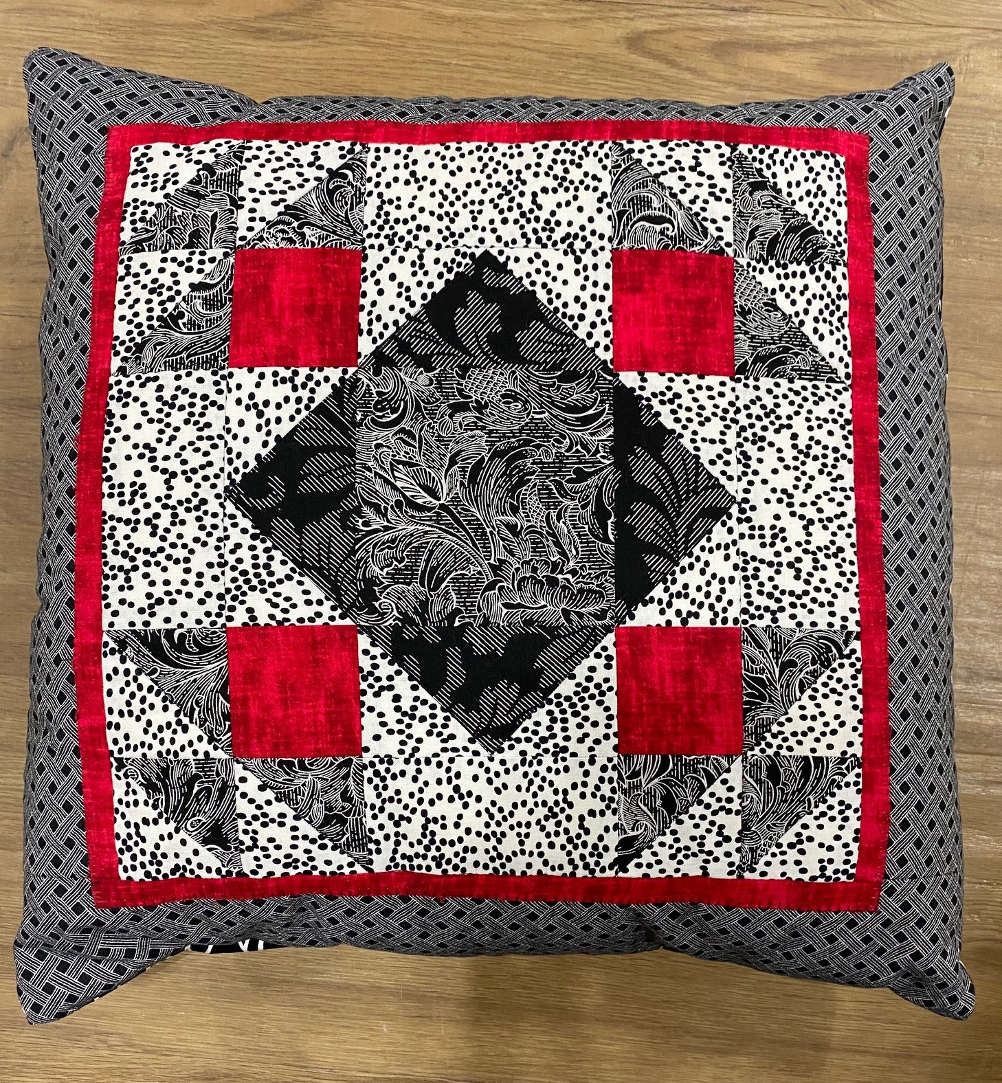Black, Red and White Pillow
