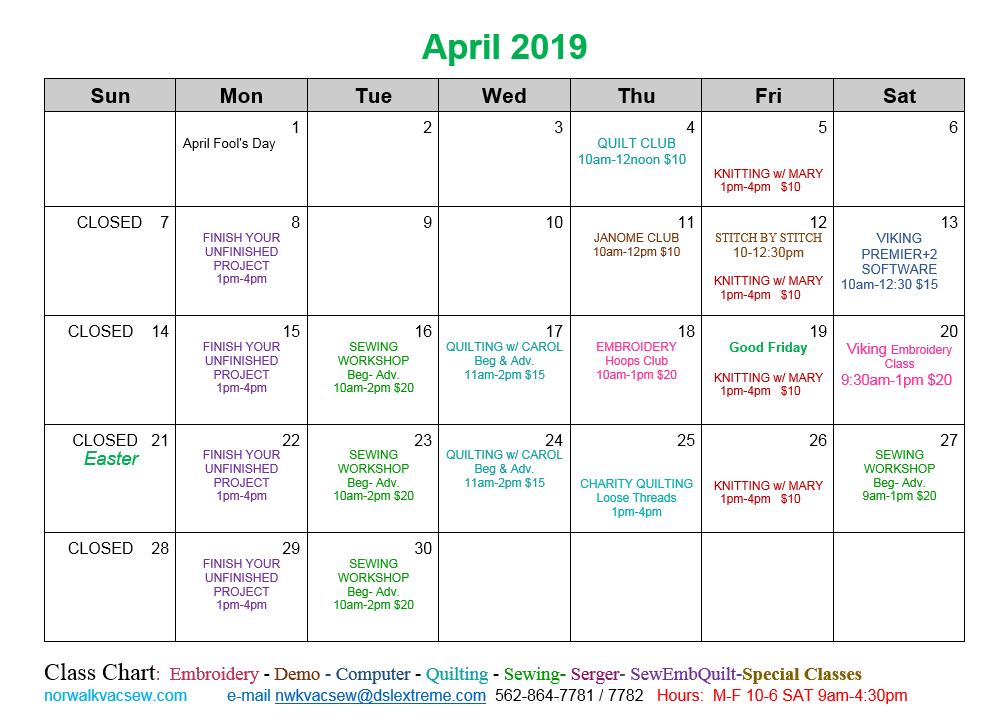 April Calendar 2019 4