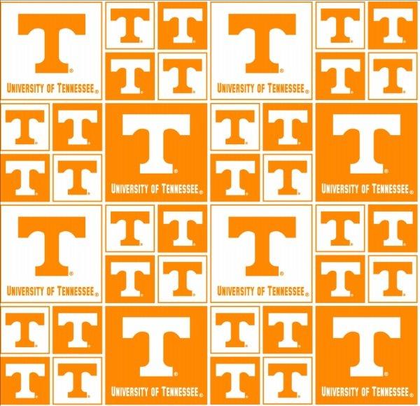 NCAA Tennessee Vols 020 Block Orange & White