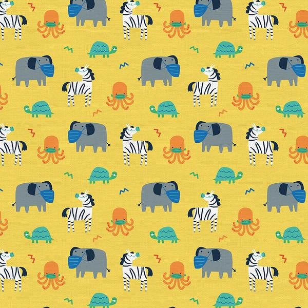 Mask Up 120-21768 Yellow Animals