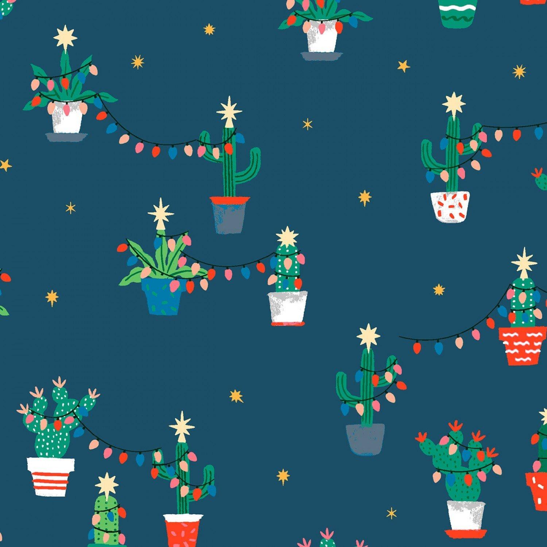 Christmas Cactus Cacti 1229 Navy