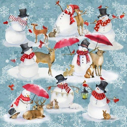 Sheltering Snow 1307-11 Snowmen Umbrellas