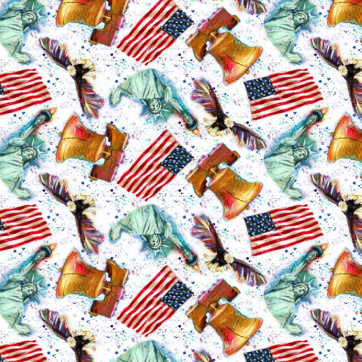 American Icons 14499 Bell, Flag, Liberty White