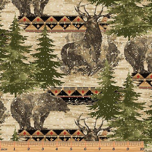 Wilderness Lodge 1470-99 Elk & Bear Silhouettes Multi