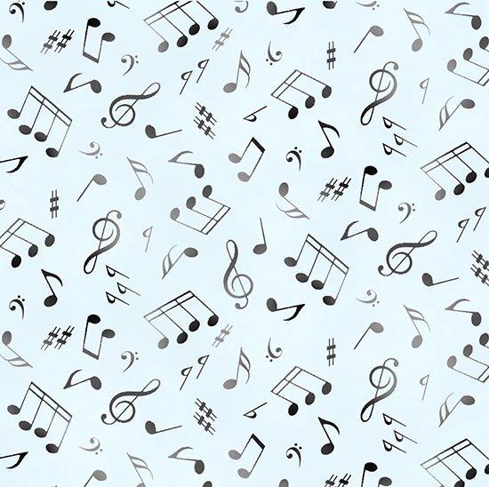 Music Notes 148 Black on Soft Blue
