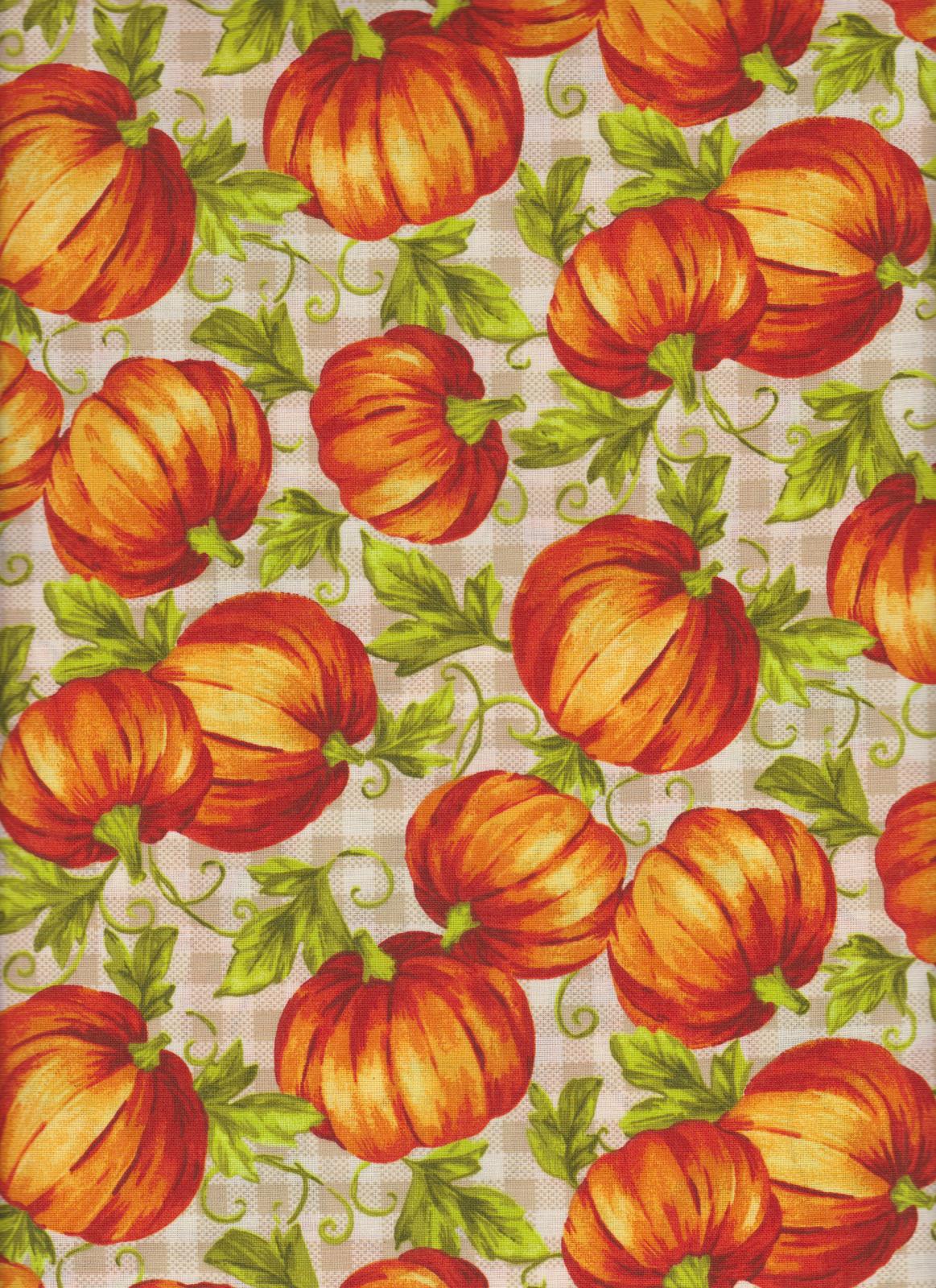 Leafy Pumpkins 17818 on Plaid