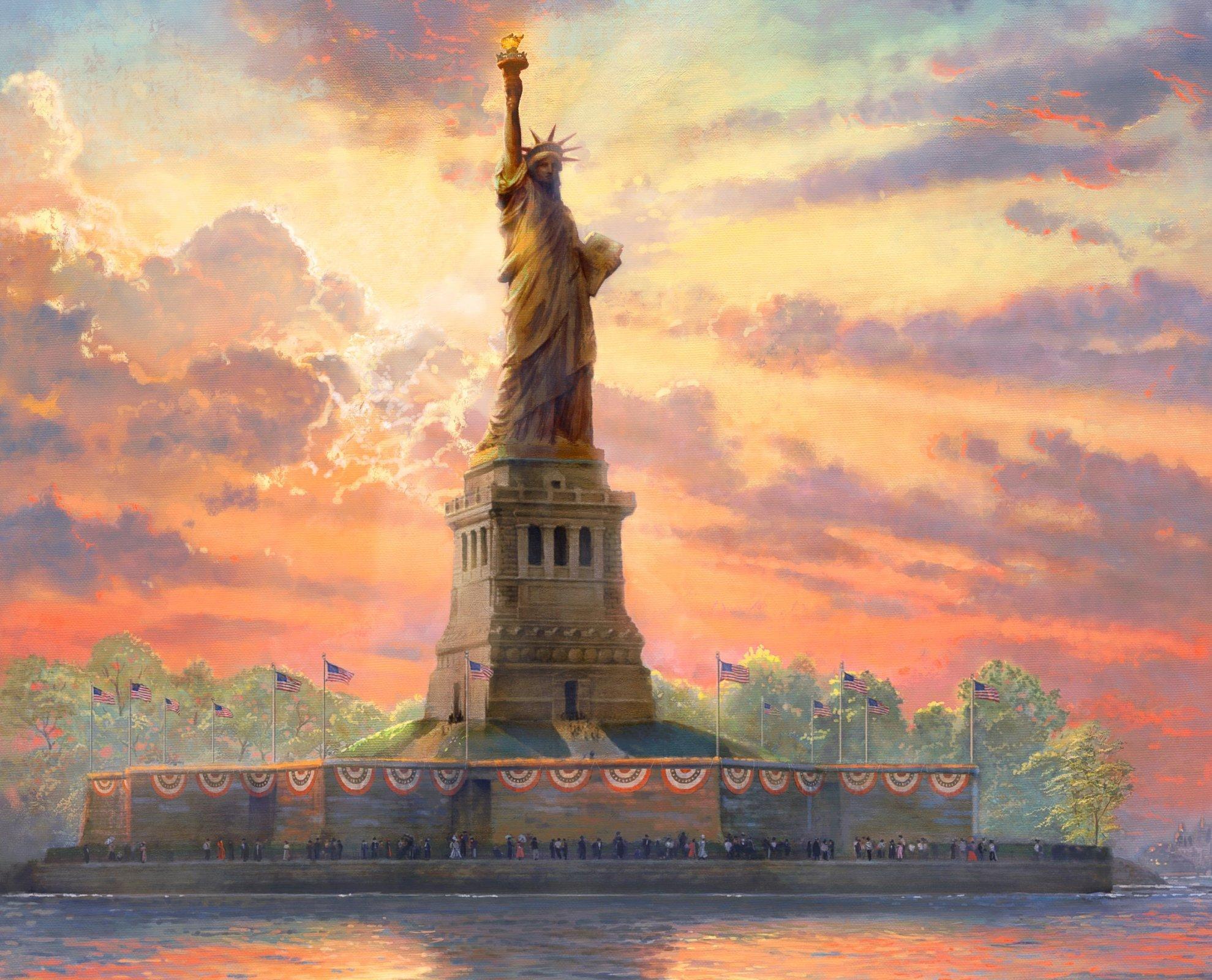 Thomas Kinkade Statue of Liberty 2036 Panel