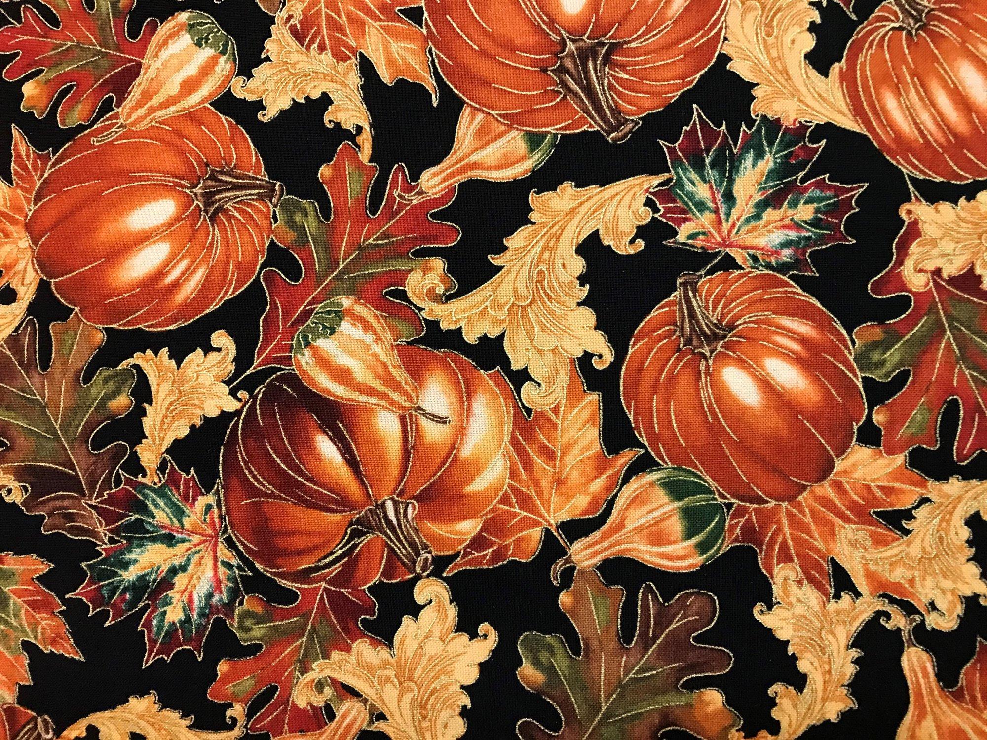 Fall Harvest Pumpkin & Leaves metallic CM2090