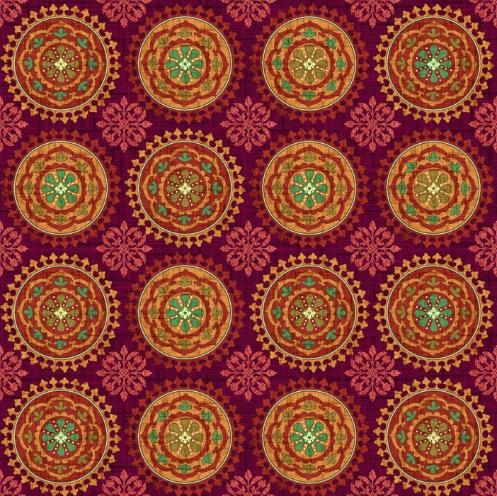 END OF BOLT Autumn Elegance 2278-89 Medallion Burgundy - .25 YD