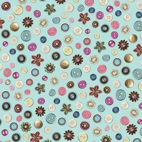 Cute As A Button 24831Q Buttons Aqua