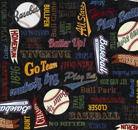 END OF BOLT Grand Slam Baseball 24911 J Words on Black - .75 YD