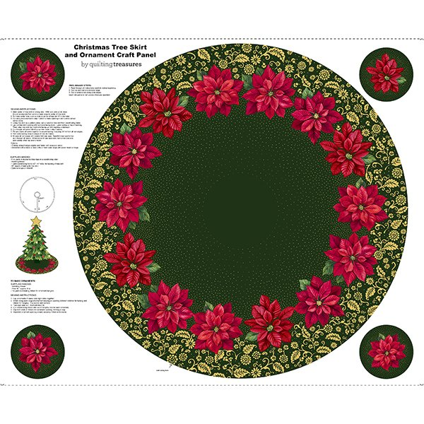 Poinsettia Grandeur Tree Skirt & Ornament Panel 25855 F