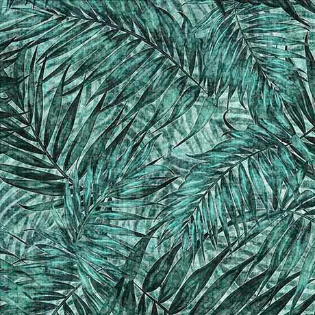 Caravan 26185Q Teal Palm Leaf